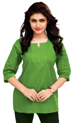 Green Plain Cambric Stone Work Cotton Tops