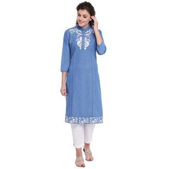 Blue embroidered cotton kurtas-and-kurtis