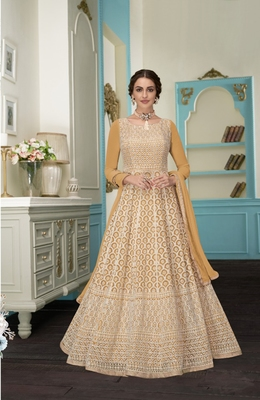 Yellow embroidered faux georgette salwar