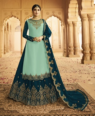 Light-turquoise embroidered faux georgette salwar