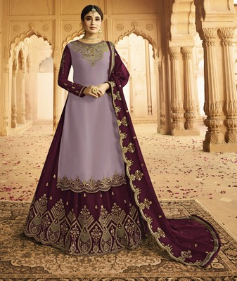 Light-purple embroidered faux georgette salwar