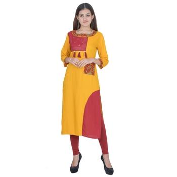 Yellow Rayon Jaipuri Kurti