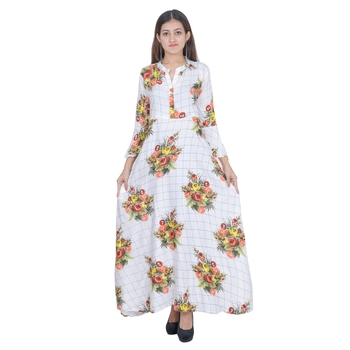 White Floral Rayon Jaipuri Long Kurti