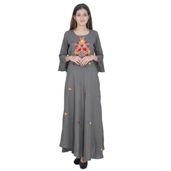 Grey Embroidery Rayon Jaipuri Long Kurti