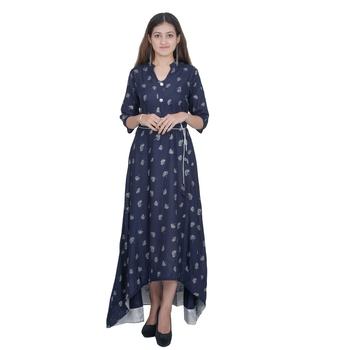 Blue Printed Rayon Jaipuri Kurti