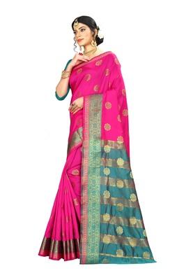 Women   s pink Pure Banarasi silk Designer Saree with Wovan Design