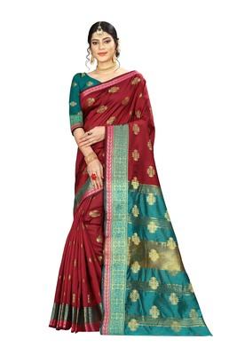 Women's maroon Pure Banarasi silk Designer Saree with Wovan Design