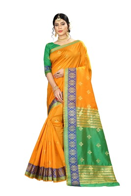 Women's orange Pure Banarasi silk Designer Saree with Wovan Design