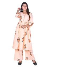 Orange Cotton Floral Printed Kurti-Palazzo Set