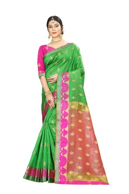 Women's green Pure Banarasi silk Designer Saree with Wovan Design