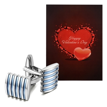 Valentine's Special V'day Greeting Card With Blue Silver Unique Shirt Cufflinks Gift for Men
