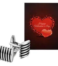 Valentine'S Special V'Day Greeting Card With Black Silver Unique Shirt Cufflinks Gift For Men