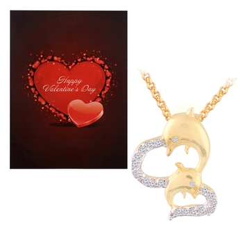Valentine's Special V'day Greeting Card With Gold Plated CZ Dolphin Pendant with Chain For Women