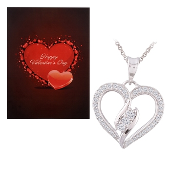 Valentine's Special V'day Greeting Card With Silver Plated CZ Heart Pendant with Chain For Women