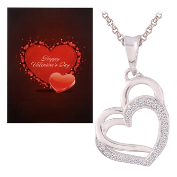Valentine'S Special V'Day Greeting Card With Silver Plated Cz Double Heart Pendant With Chain For Women