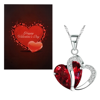 Valentine's Special V'day Greeting Card With Gold Plated CZ Heart Pendant with Chain For Women
