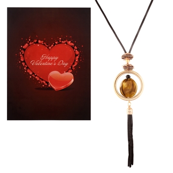 Valentine's Special V'day Greeting Card With Gold Plated Designer Fancy Stylish Necklace for Women