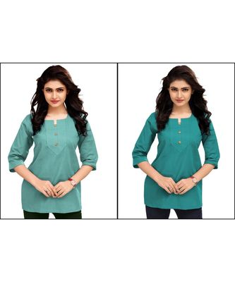 Multicolor Plain Cambric Stone Work Cotton 2 Tops Combo