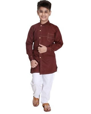 Maroon plain cotton silk boys-kurta-pyjama