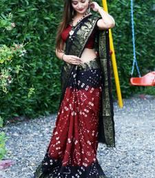 Maroon Bandhani Hand Women Saree