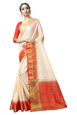Cream printed nylon saree with blouse