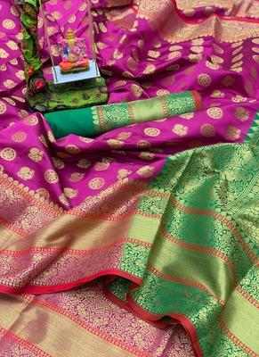 Rani Pink Art Silk Party Wear Saree