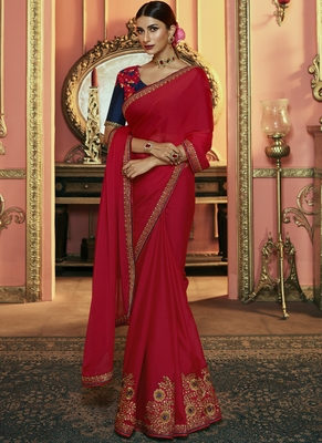 Red Party Wear Designer Embroidery Saree