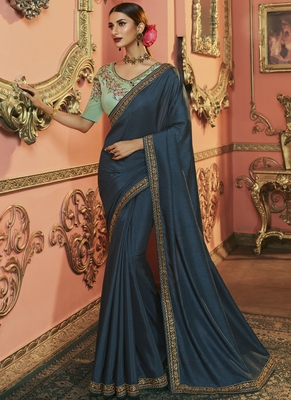 Navy Blue Party Wear Designer Embroidery Saree