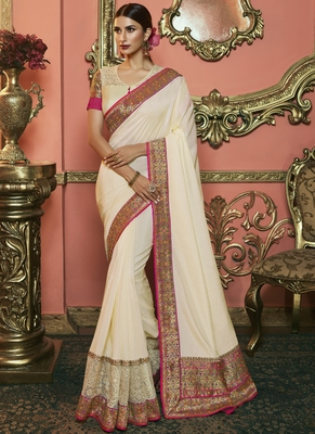 Off White Party Wear Designer Embroidery Saree