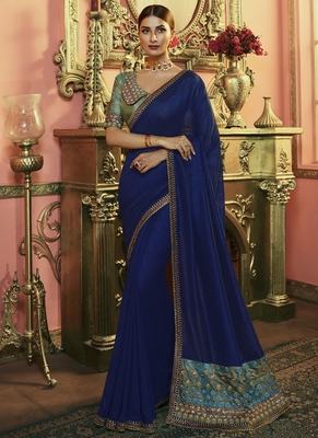 Blue Party Wear Designer Embroidery Saree