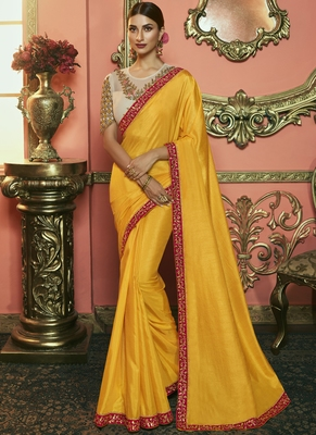 Yellow Party Wear Designer Embroidery Saree