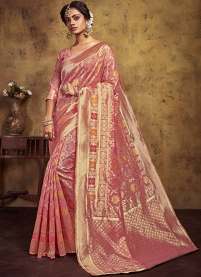 Onion Pink Art Silk Party Wear Saree