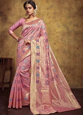 Baby Pink Art Silk Party Wear Saree