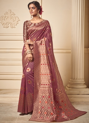 Light Violet Art Silk Party Wear Saree