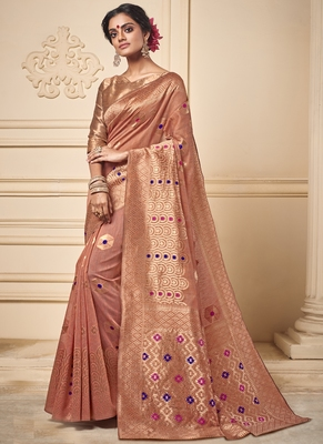 Dark Peach Art Silk Party Wear Saree