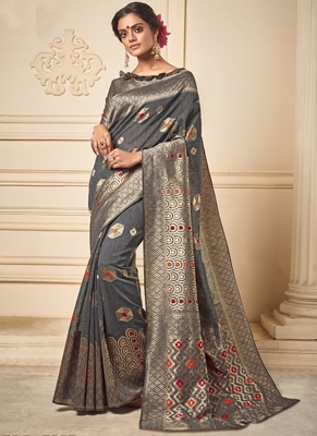 Dark Grey Art Silk Party Wear Saree