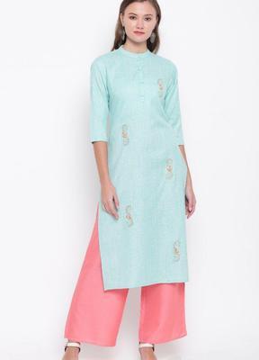 Sky-blue embroidered cotton cotton-kurtis