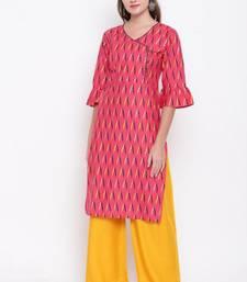 Light-pink printed cotton cotton-kurtis