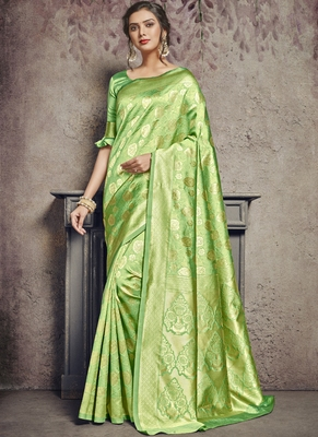 Light Green Art Silk Party Wear Saree