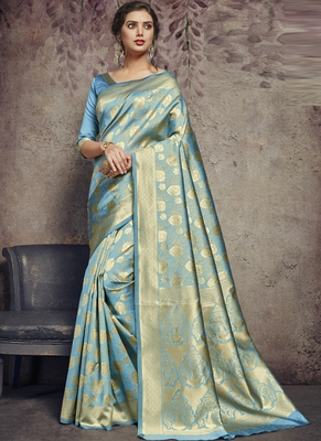 Turquoise Art Silk Party Wear Saree