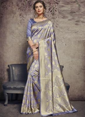 Light Violet Art Silk Party Wear Saree