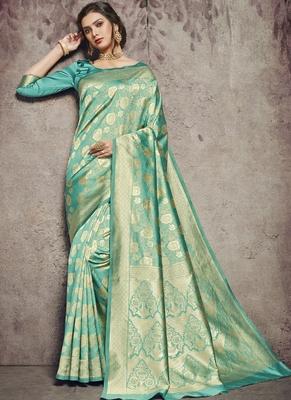 Dark Tuquoise Art Silk Party Wear Saree