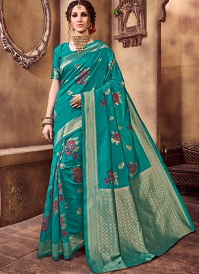 Dark Turquoise Party Wear Designer Saree