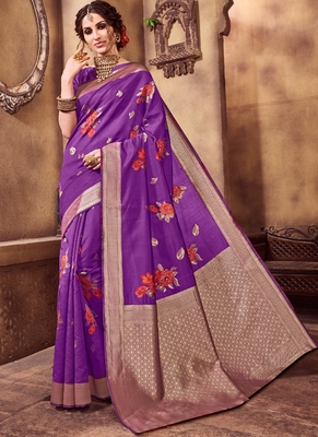 Rani Pink Party Wear Designer Saree