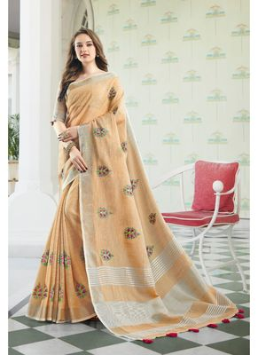 Beige embroidered linen saree with blouse