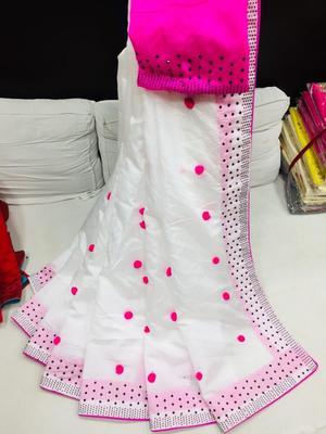 white art silk pompom saree with blouse