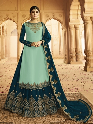 Light-turquoise embroidered silk salwar