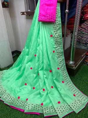 green art silk pom pom saree with blouse