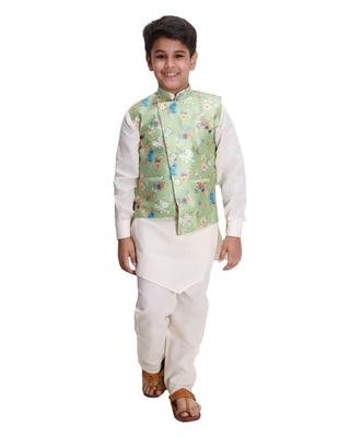 Green printed cotton silk boys-kurta-pyjama