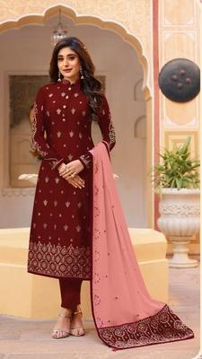 Red embroidered silk salwar